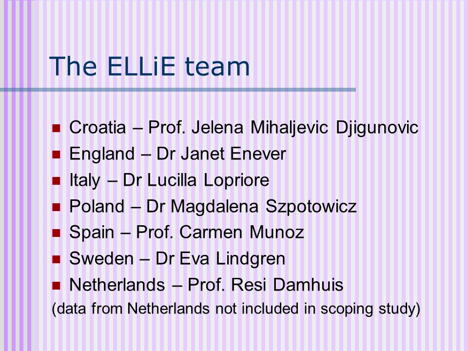 The ELLiE team Croatia – Prof. Jelena Mihaljevic Djigunovic
