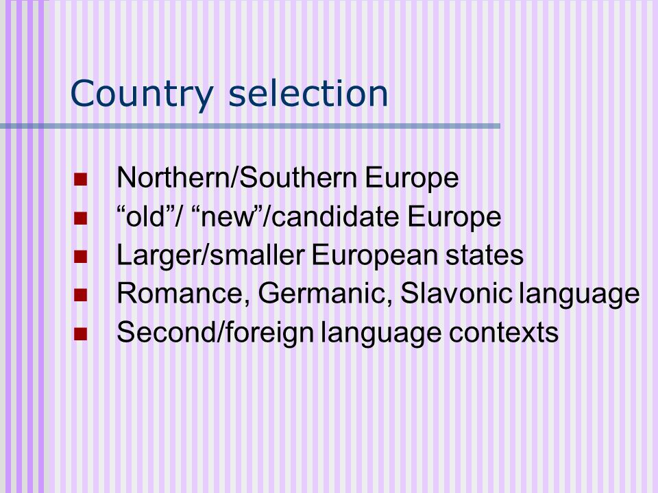 Country selection Northern/Southern Europe