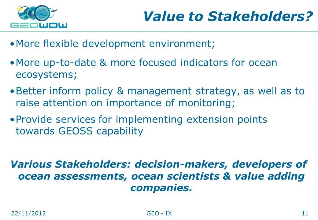 Value to Stakeholders More flexible development environment;