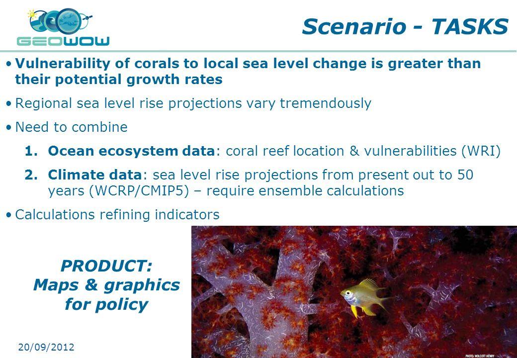 Scenario - TASKS PRODUCT: Maps & graphics for policy