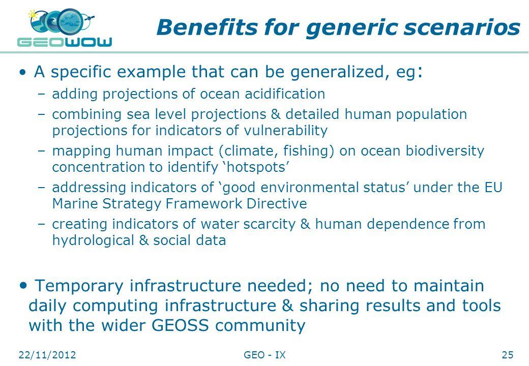 Benefits for generic scenarios
