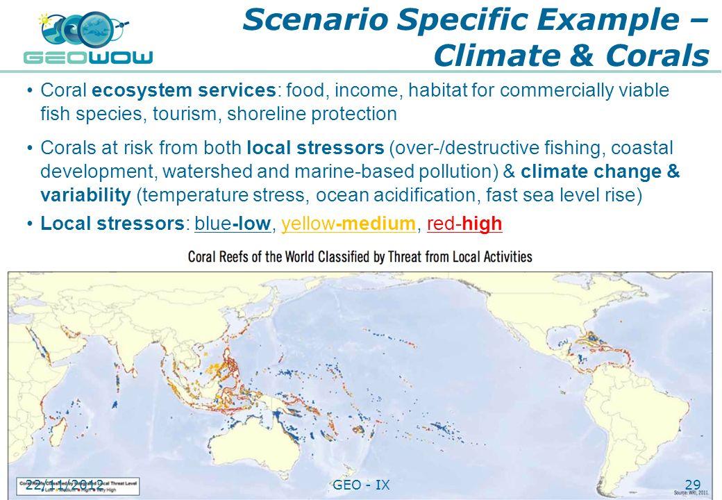 Scenario Specific Example – Climate & Corals