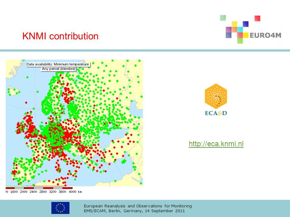 KNMI contribution http://eca.knmi.nl
