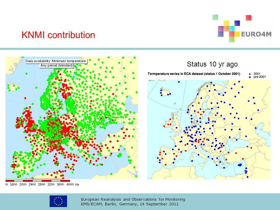 KNMI contribution Status 10 yr ago
