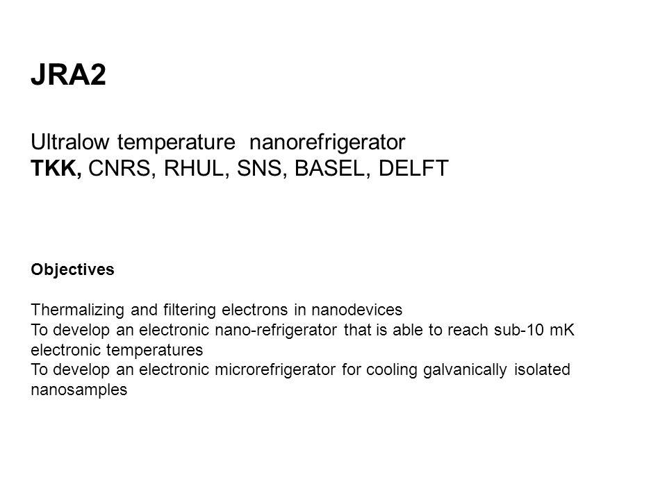 JRA2 Ultralow temperature nanorefrigerator TKK, CNRS, RHUL, SNS, BASEL, DELFT