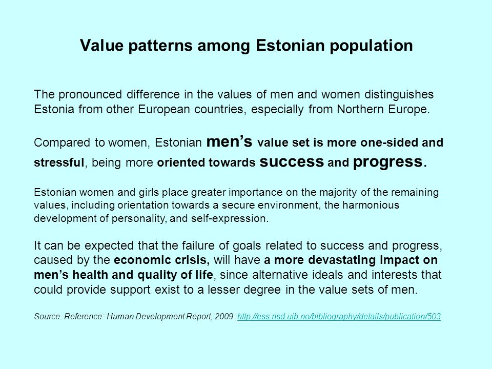 Value patterns among Estonian population
