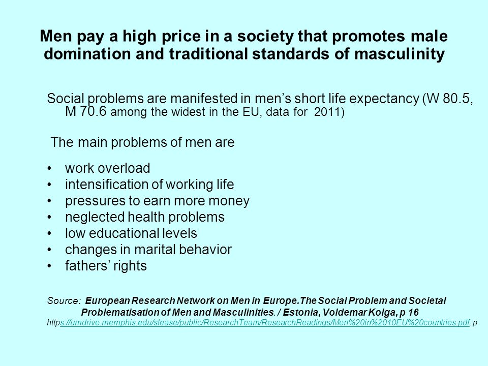 Men pay a high price in a society that promotes male domination and traditional standards of masculinity