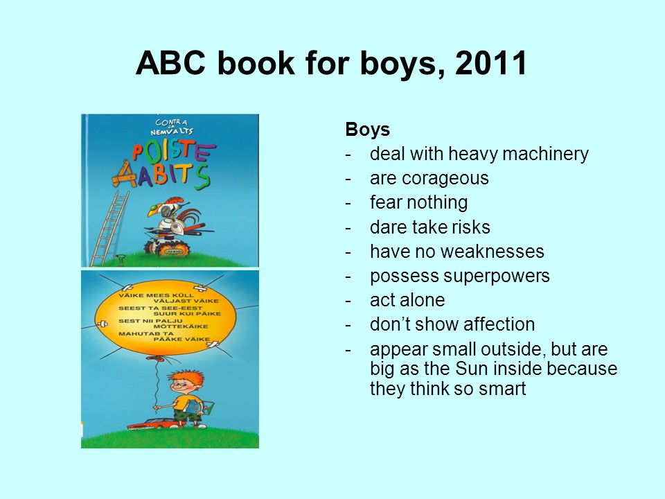 ABC book for boys, 2011 Boys deal with heavy machinery are corageous