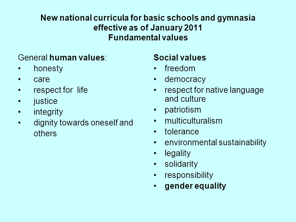 New national curricula for basic schools and gymnasia effective as of January 2011 Fundamental values