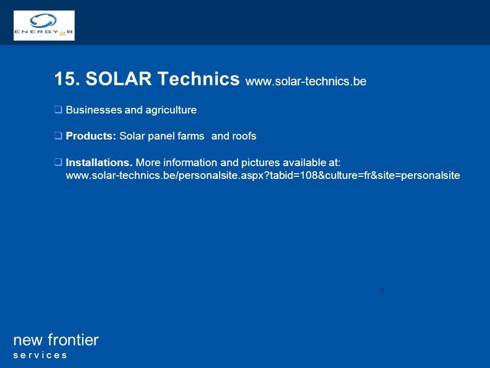 15. SOLAR Technics www.solar-technics.be