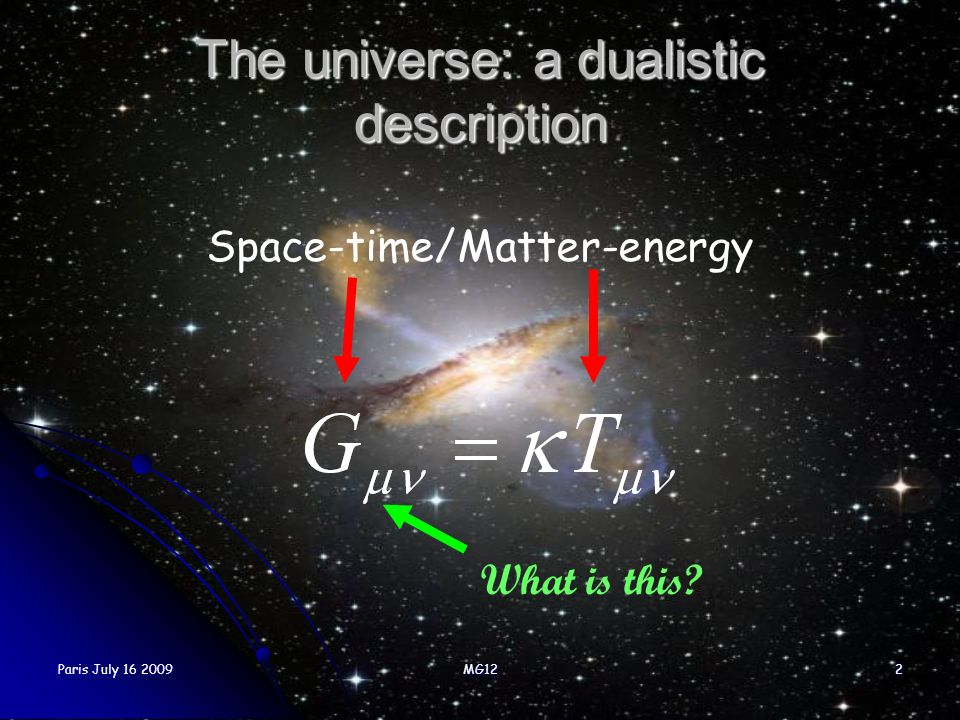 The universe: a dualistic description