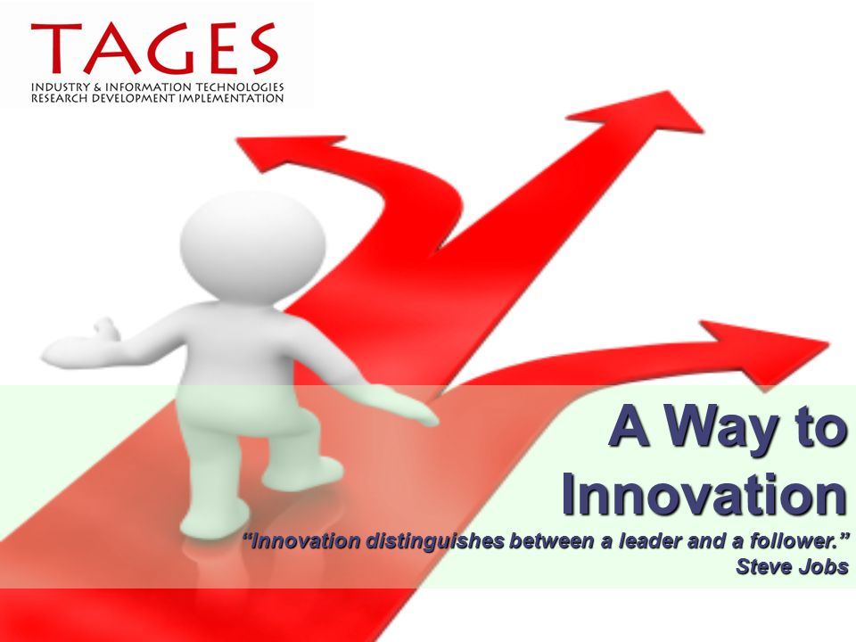A Way to Innovation Innovation distinguishes between a leader and a follower. Steve Jobs