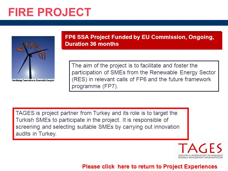 FIRE PROJECT FP6 SSA Project Funded by EU Commission, Ongoing, Duration 36 months.
