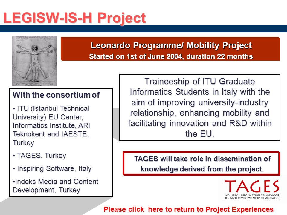 LEGISW-IS-H Project Leonardo Programme/ Mobility Project