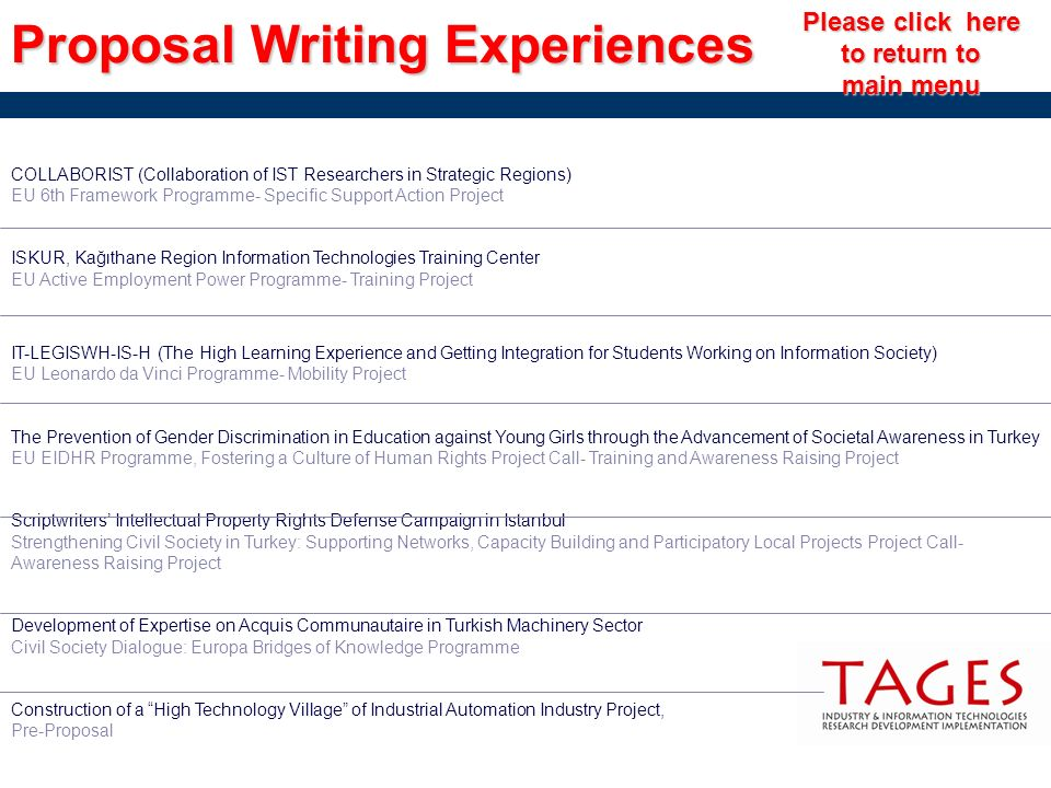 Proposal Writing Experiences