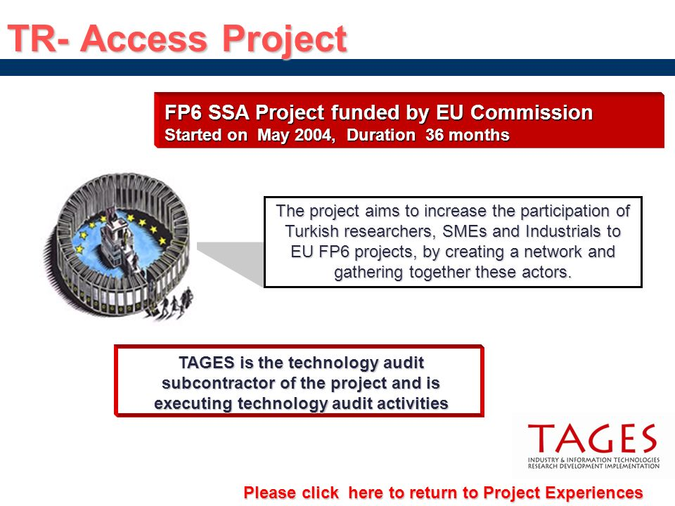 TR- Access Project FP6 SSA Project funded by EU Commission