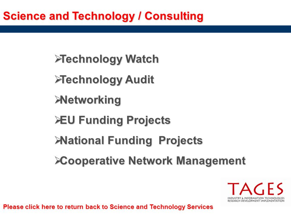 Science and Technology / Consulting