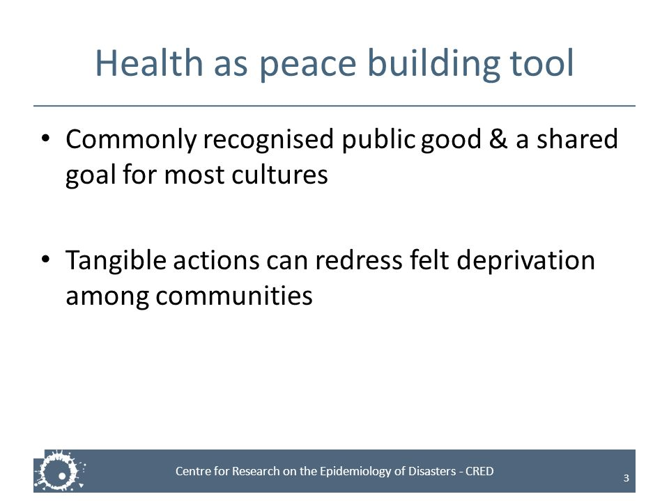 Health as peace building tool