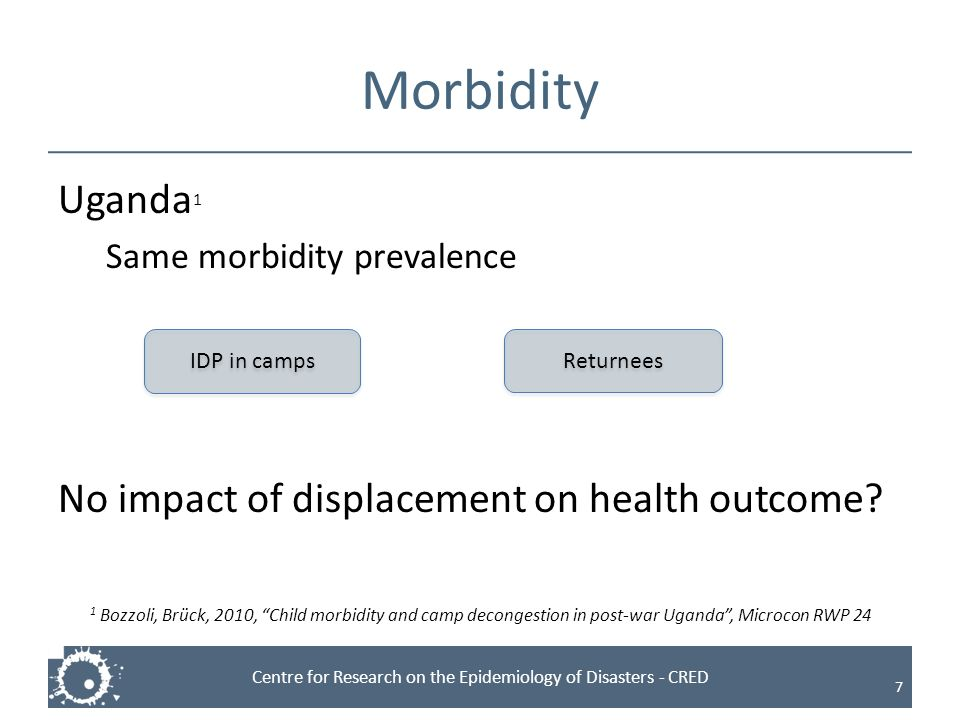 Morbidity Uganda1 No impact of displacement on health outcome