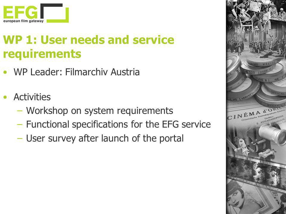 WP 1: User needs and service requirements