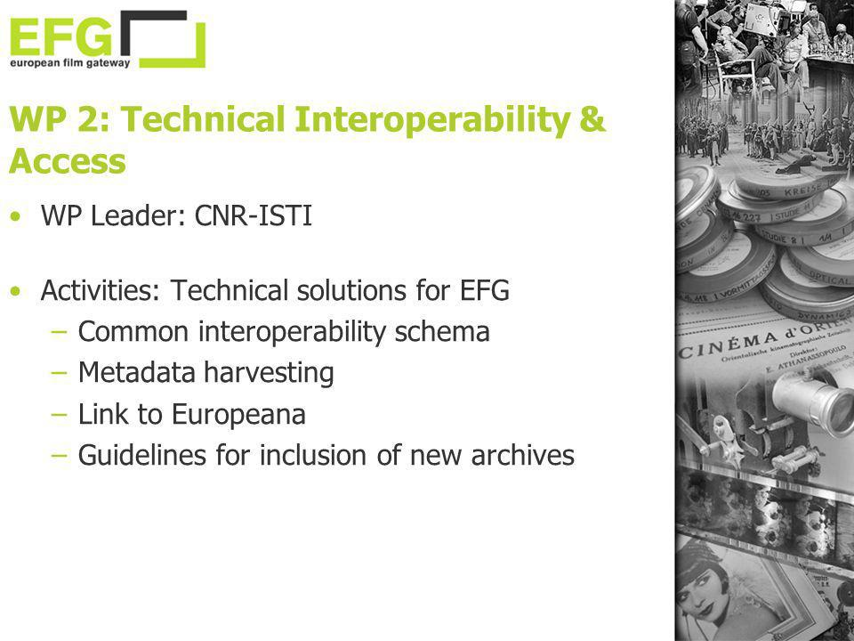WP 2: Technical Interoperability & Access