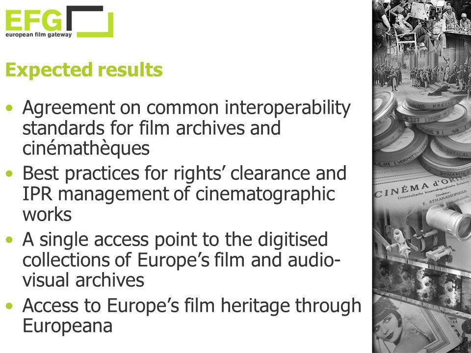 Expected results Agreement on common interoperability standards for film archives and cinémathèques.