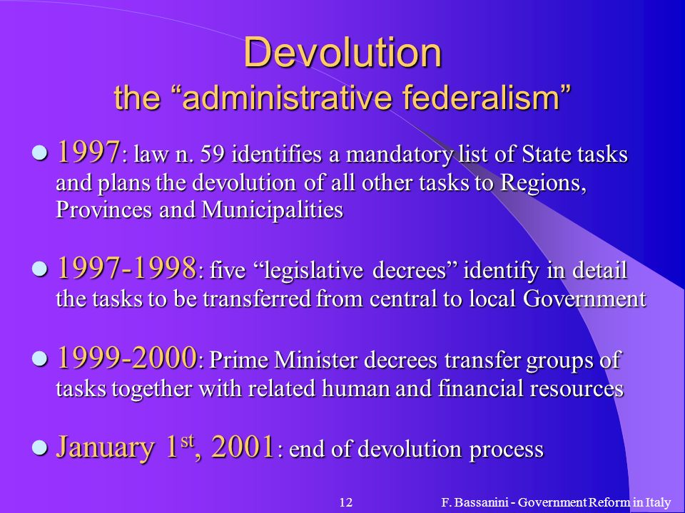 Devolution the administrative federalism