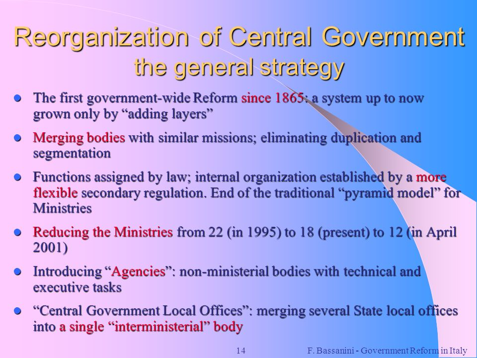 Reorganization of Central Government the general strategy