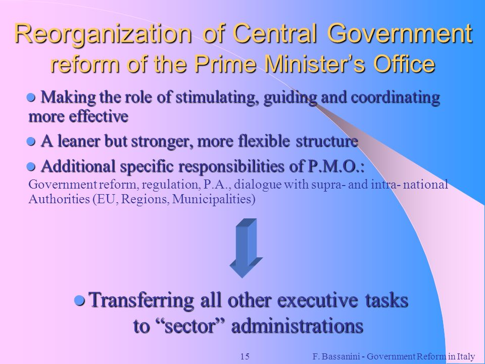 Reorganization of Central Government reform of the Prime Minister's Office
