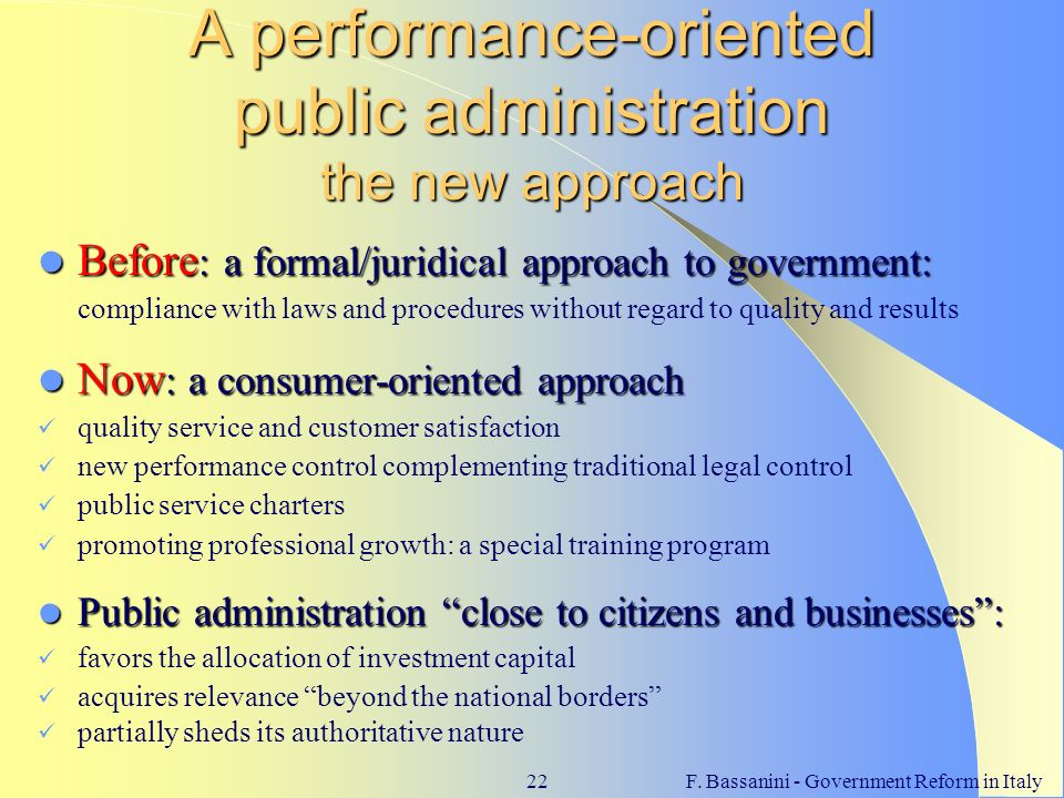 A performance-oriented public administration the new approach