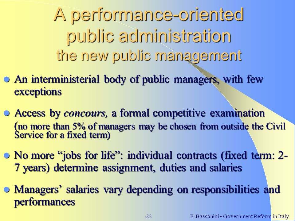 A performance-oriented public administration the new public management