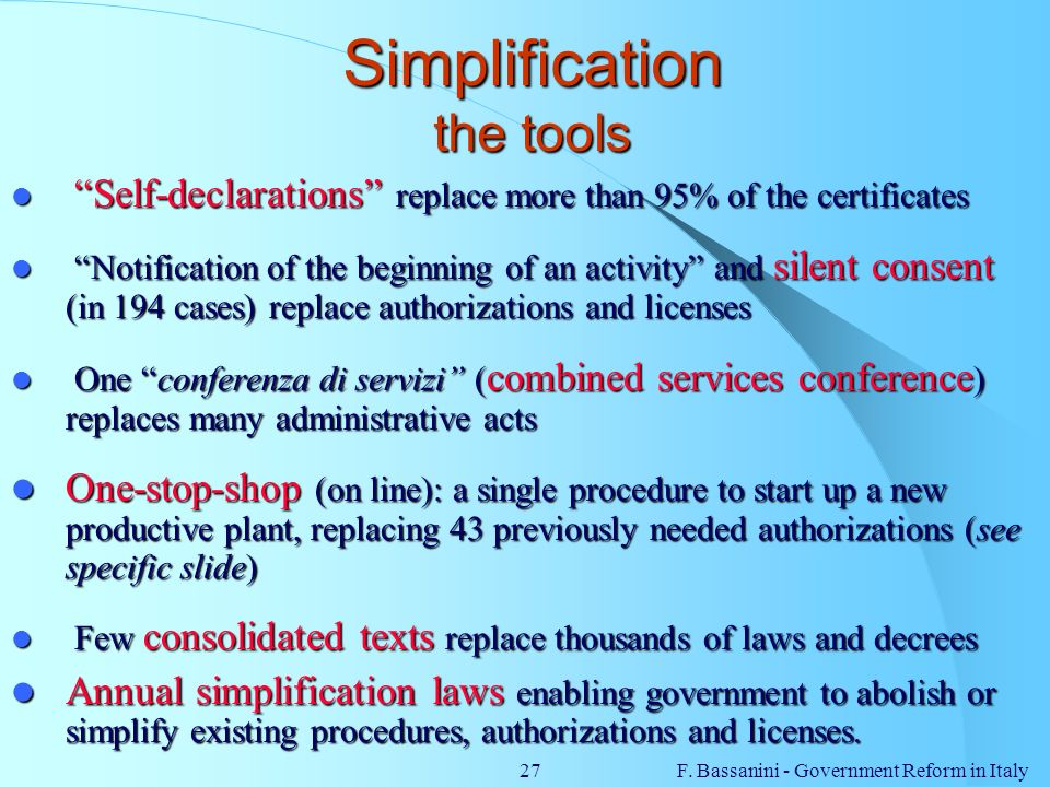 Simplification the tools