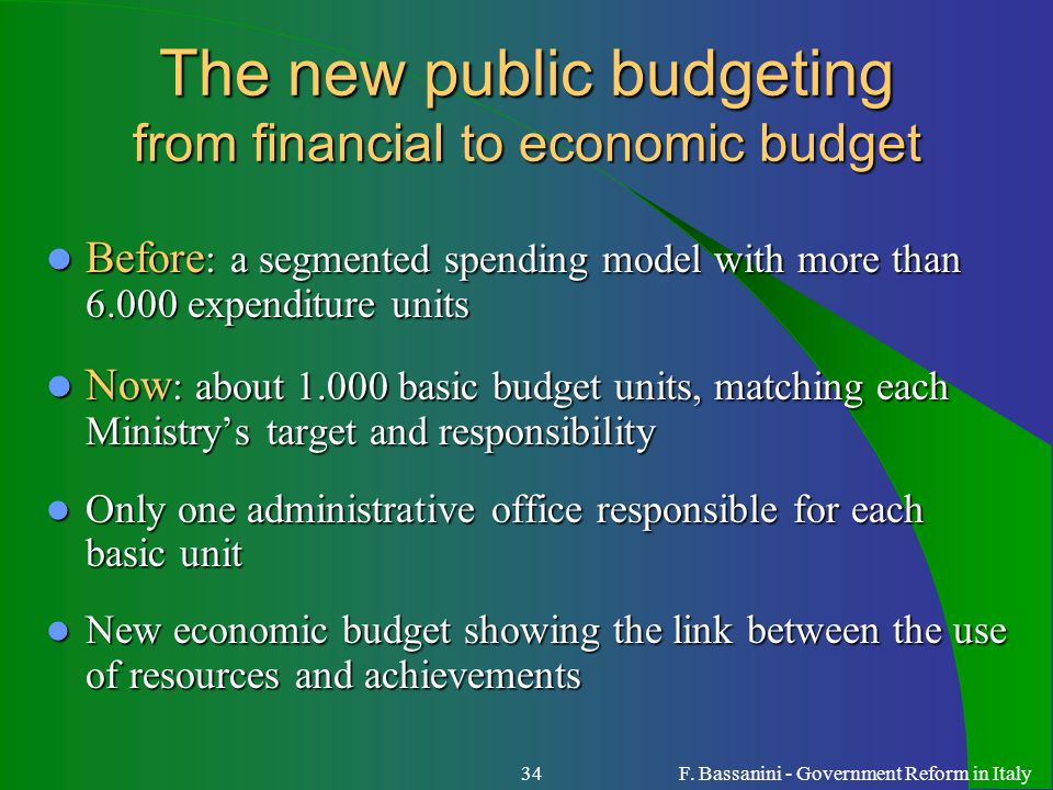 The new public budgeting from financial to economic budget