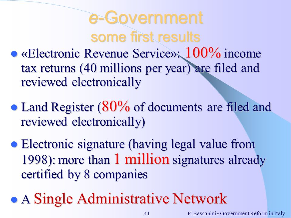 e-Government some first results