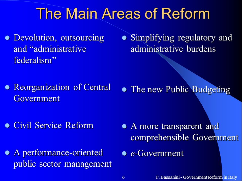 The Main Areas of Reform