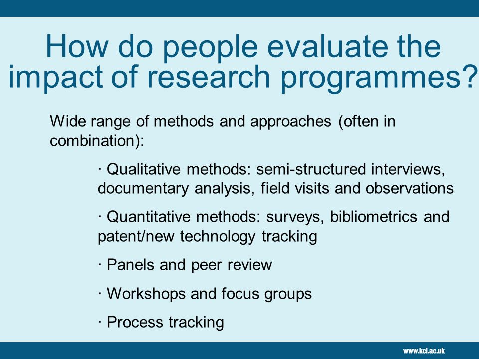 How do people evaluate the impact of research programmes