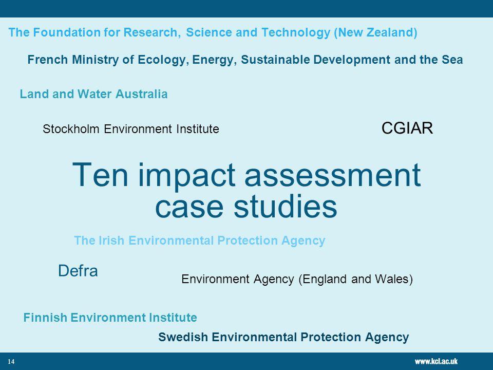 Ten impact assessment case studies