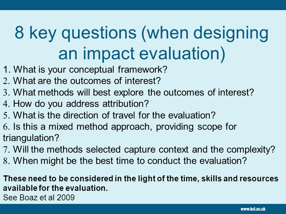 8 key questions (when designing an impact evaluation)