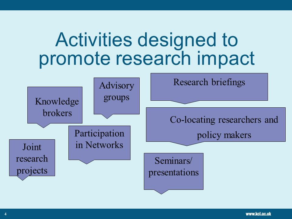 Activities designed to promote research impact