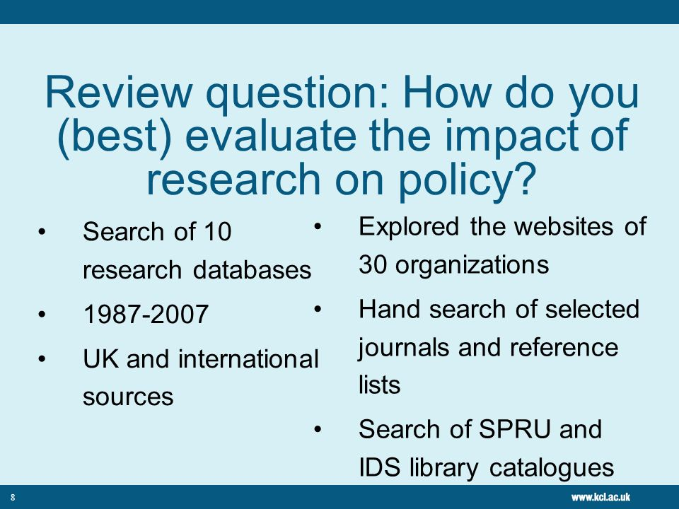 Review question: How do you (best) evaluate the impact of research on policy