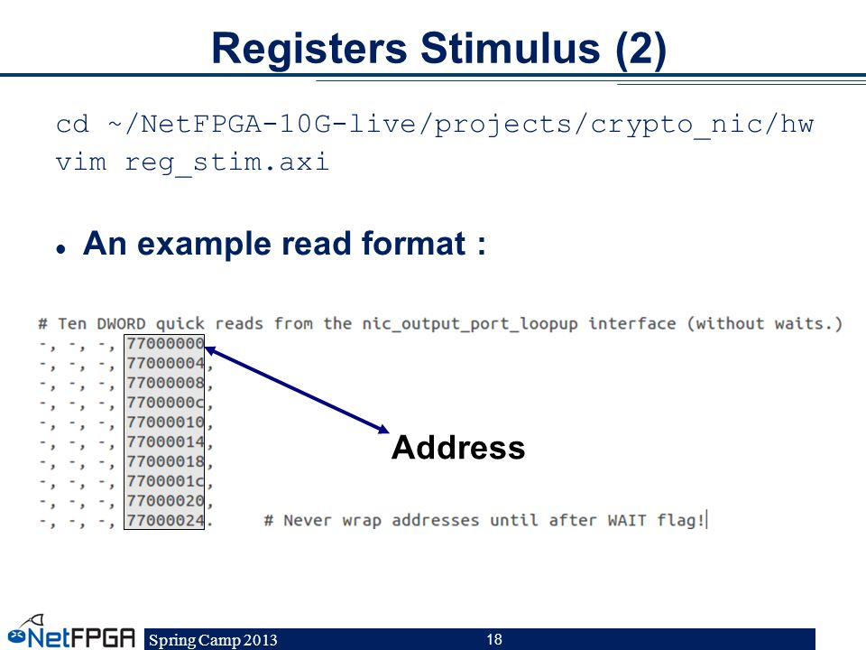 Registers Stimulus (2) An example read format : Address