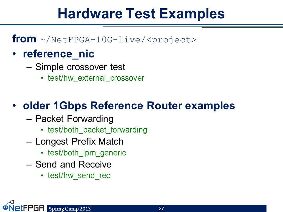Hardware Test Examples