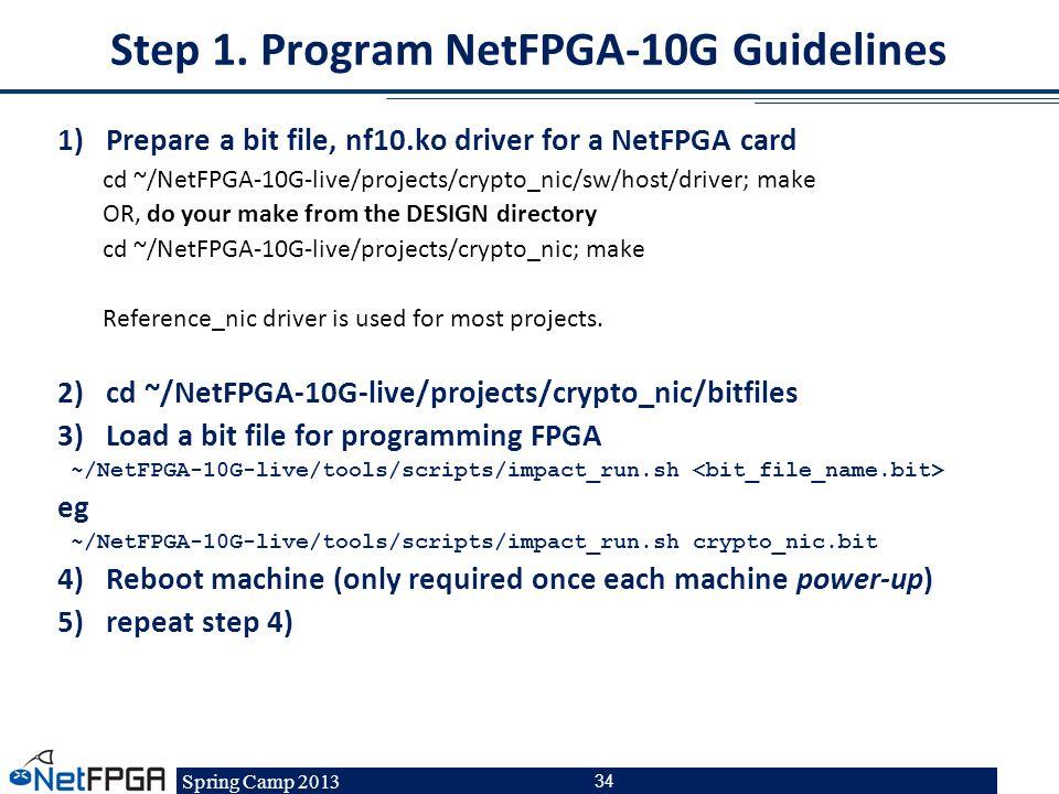 Step 1. Program NetFPGA-10G Guidelines