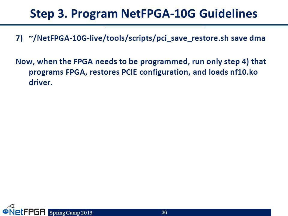 Step 3. Program NetFPGA-10G Guidelines