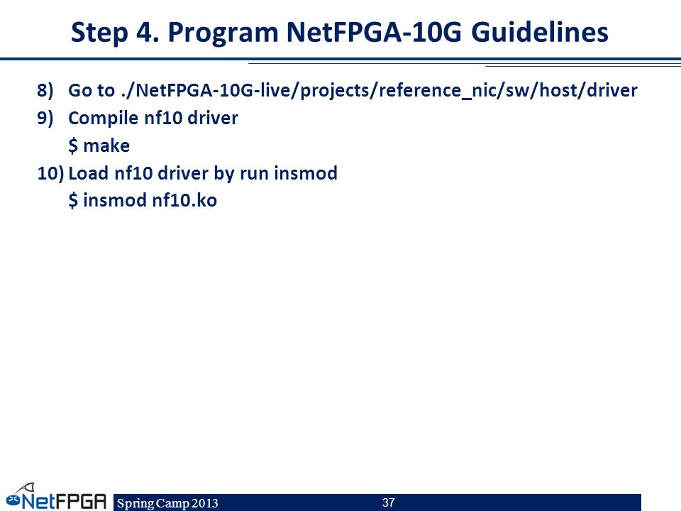 Step 4. Program NetFPGA-10G Guidelines