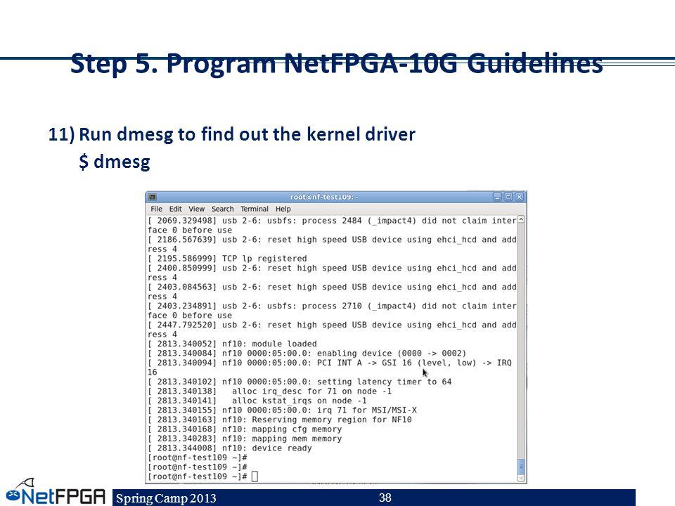 Step 5. Program NetFPGA-10G Guidelines