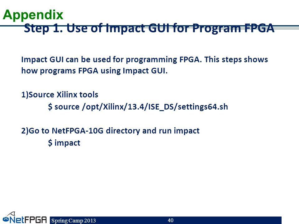 Step 1. Use of Impact GUI for Program FPGA