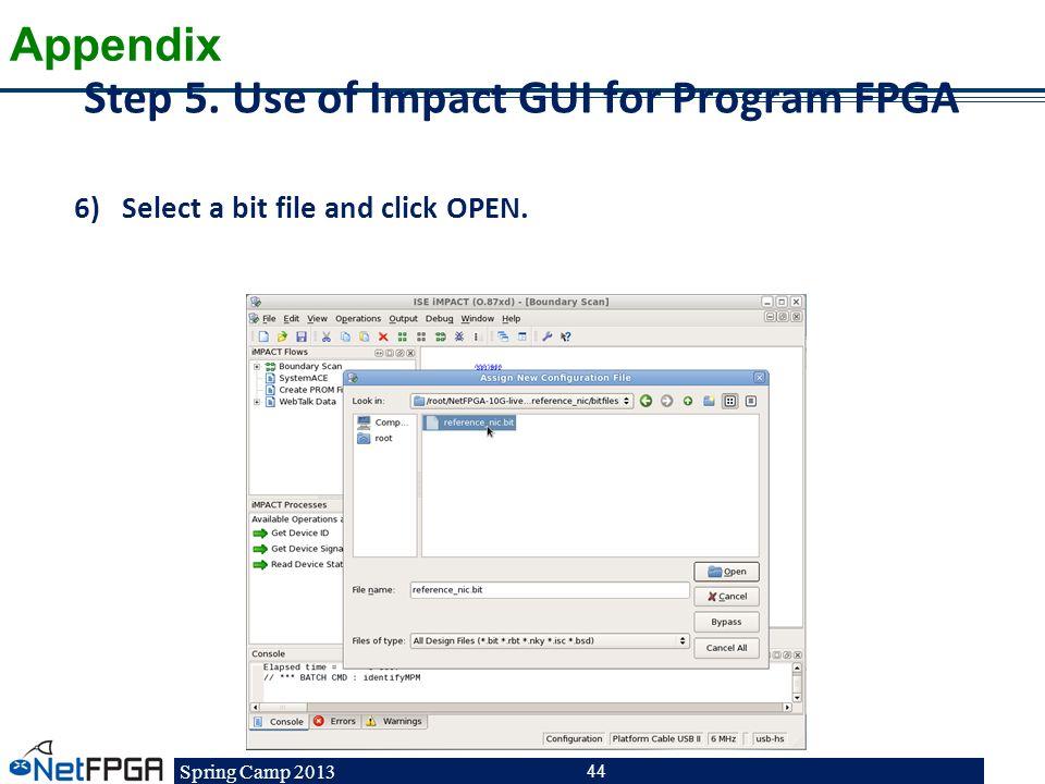 Step 5. Use of Impact GUI for Program FPGA
