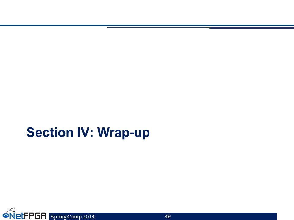 Section IV: Wrap-up