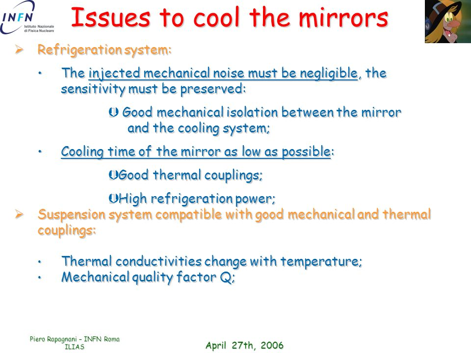 Issues to cool the mirrors